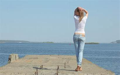 Jeans Beach Avril Barefoot Models Outdoors Wallpapers