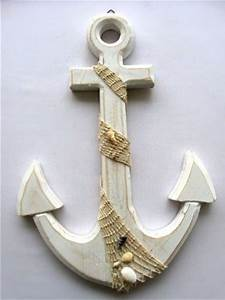 Large wooden anchor wall plaque nautical beach tropical