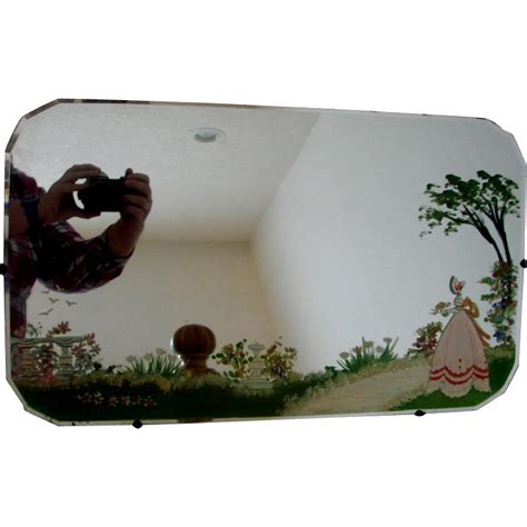 scottish beveled wall mirror hand painted garden scene