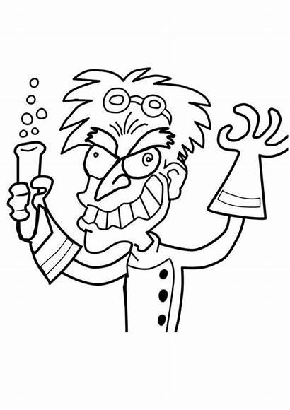 Professor Crazy Coloring Pages Science Printable Edupics