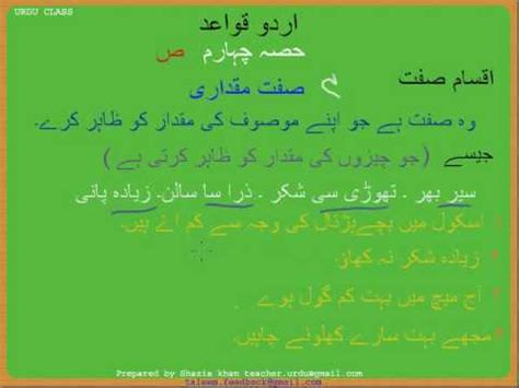 Urdu Grammar Part 4 (f) Siftemiqdari Youtube