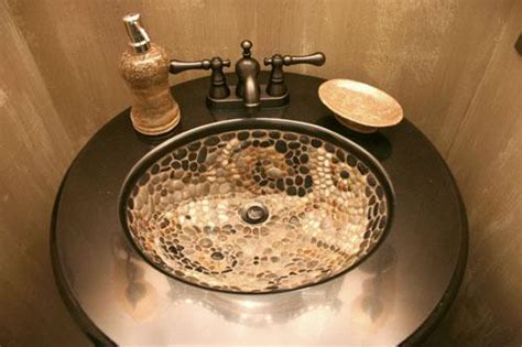 beautiful bathroom sinks decorated  mosaic tiles