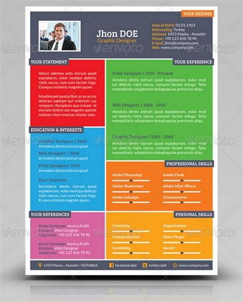 Colorful Resume Templates by Colorful Cv Resumes Best Free Resume Templates Resume