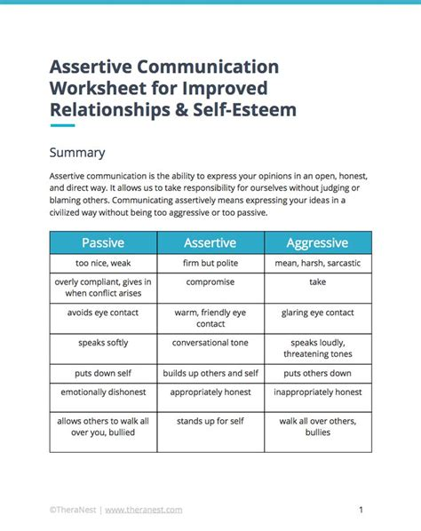 assertive communication worksheet  improved