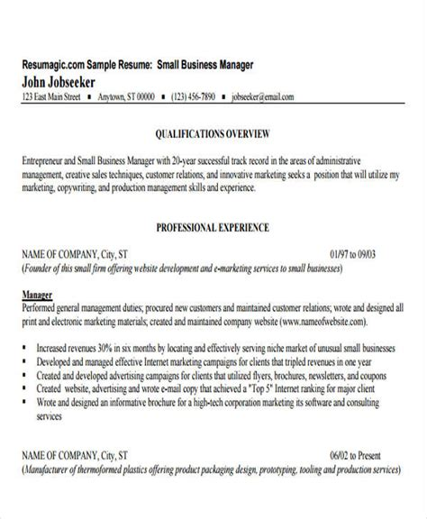 Small Business Office Manager Resume by Business Resume Sle Free Premium Templates