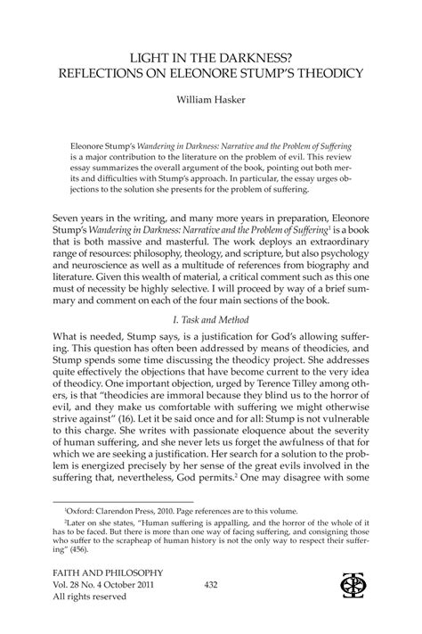 Problem Of Evil Essay by Light In The Darkness Reflections On Eleonore Stump S