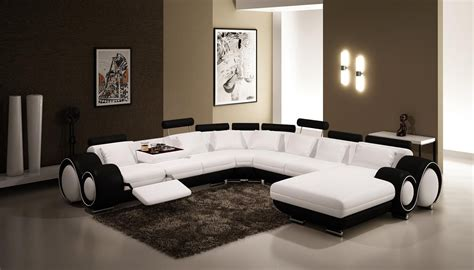 White Living Room Leather Furniture by Vig Furniture 4084 Contemporary Black And White Leather