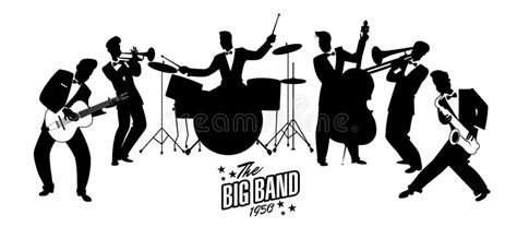 Jazz Swing Orchestra. Retro Style. Cartoon Illustration