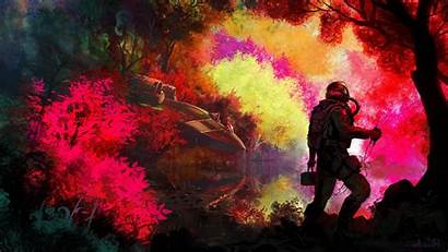 Colorful Planet Fantasy Space Forest Science Astronaut