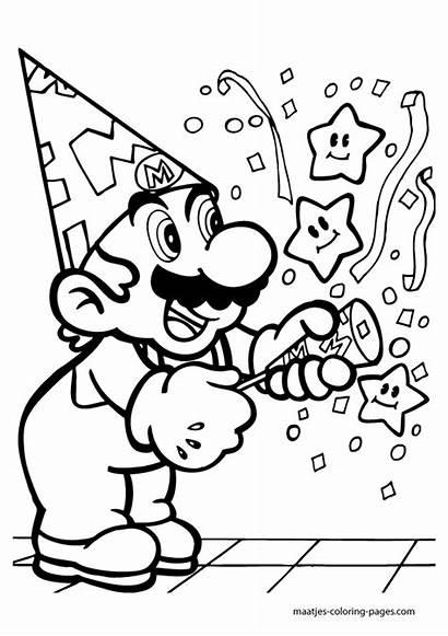 Coloring Pages Mario Super Birthday Bros Party