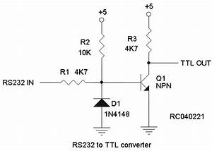 interfacing to and from rs232 With ttl cmos rs232 logic converter that is it convert ttl cmos to rs232 as