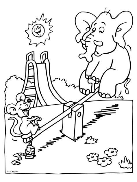 Kleurplaat Olifant En Muis kleurplaat olifant en muis in speeltuin kleurplaten nl