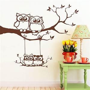 Wandtattoo Wall Art : vier eulen auf einem ast mit schaukel wandbild ~ Sanjose-hotels-ca.com Haus und Dekorationen