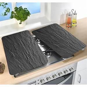 Plaque De Verre Pour Table : set 2 couvre plaques protection en verre motifs ardoise ~ Dailycaller-alerts.com Idées de Décoration
