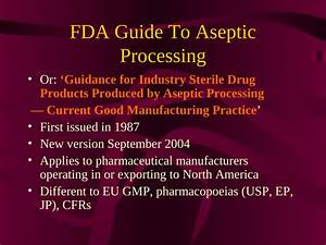 Pdf  Fda Guide To Aseptic Processing