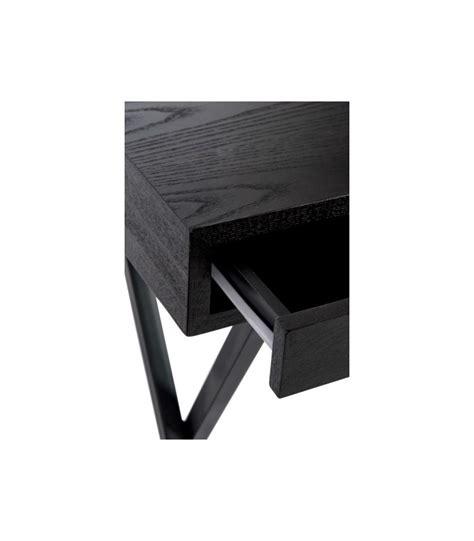 bureau noir design bureau design en bois noir et métal 2 tiroirs jline