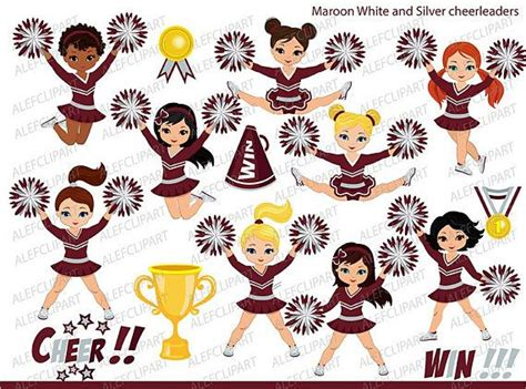maroon silver  white cheerleader digital clipart set