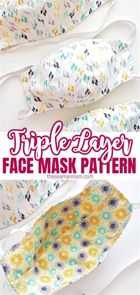 mask face pattern fitted easy sewing filter creative pocket peasy layer patterns triple sew theseamanmom cotton using masks layers beginners