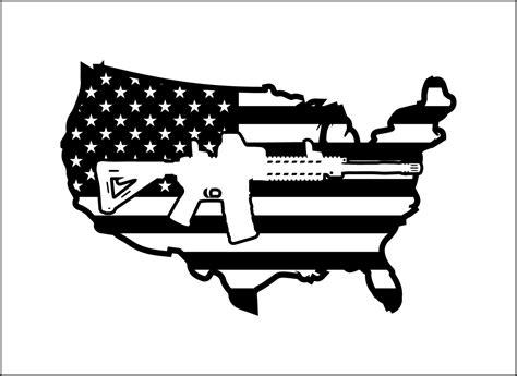 Ar15 Usa Flag Decal American Flag Outline Unique Digital