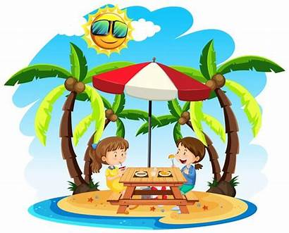 Beach Lunch Enjoy Children Illustration Clipart Vector
