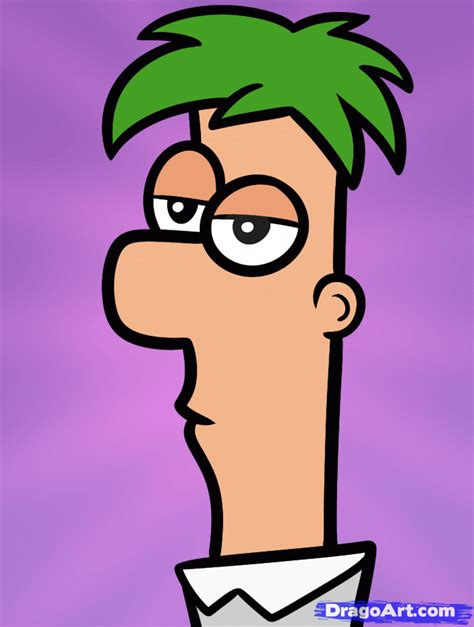 draw ferb easy step  step disney characters