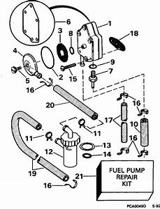 Johnson Fuel Pump Parts For 1995 25hp J25rweos Outboard Motor
