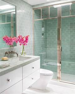 Modern, Sea, Green, Bathroom, With, Glass, Tile, And, Glass, Door