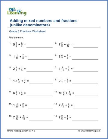 grade 5 worksheet add mixed numbers fractions unlike denominators k5 learning