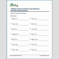 Grade 5 Worksheet Add Mixed Numbers & Fractions (unlike Denominators)  K5 Learning