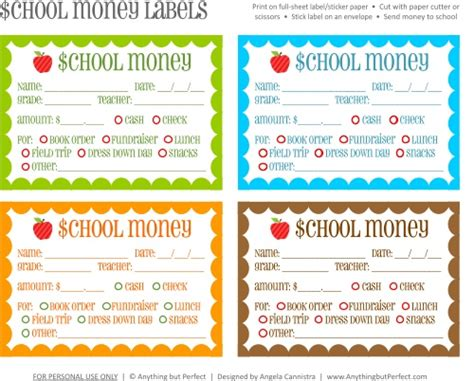 back to school free printable lunch money slip