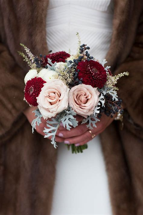 Winter Wedding Bouquets With Reds Pinks And Burgundies
