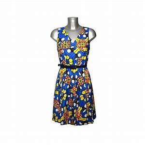 Bleu Et Orange : robe en tissu africain motif graphique bleu orange et jaune ~ Nature-et-papiers.com Idées de Décoration