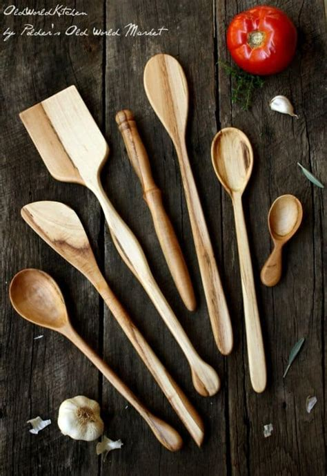 delicate beautiful wooden kitchen utensils