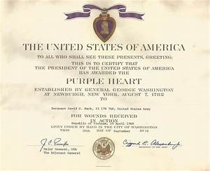 sfc david hack39s purple heart certificate sgt hack With purple heart citation template