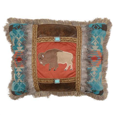 Western Bedding: Sunset Vista Feather Buffalo Pillow Lone
