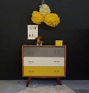 Pied De Meuble Vintage : commode vintage pieds compas jaune noir blanc 1 commode ~ Dallasstarsshop.com Idées de Décoration