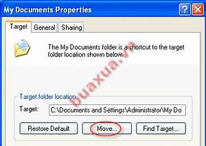 cach thay doi vi tri mac dinh cua my documents buaxuavn With my documents properties