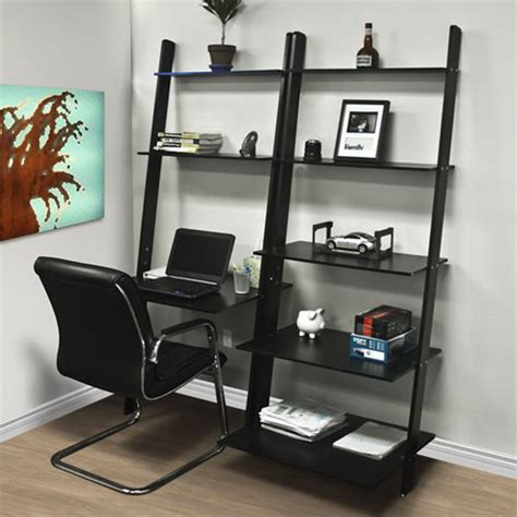 leaning ladder bookshelf with laptop desk 15 diy computer desk ideas tutorials for home office