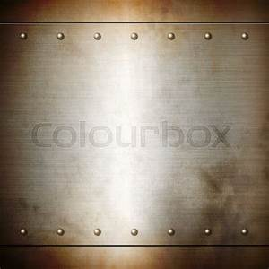 Rusty steel riveted brushed plate background texture ...