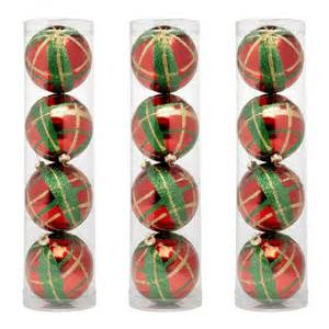 4 pack glittered plaid christmas ornaments set of 3 christmas tree shops andthat