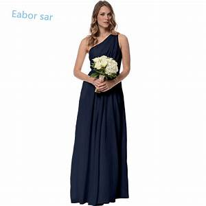One shoulder navy blue bridesmaid dresses long wedding for Blue dresses to wear to a wedding