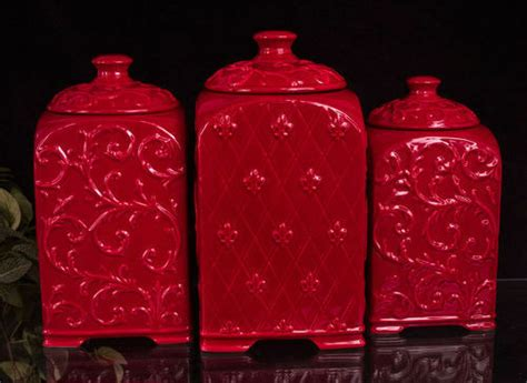 Some of them will have writing on them to indicate what's inside, though if. Tuscan Drake Design Red Scroll Fleur de Lis Ceramic Kitchen Canisters S/3 | eBay