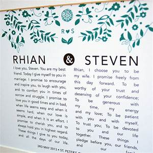 personalised bride and groom wedding vow print by ant With wedding vows gifts ideas