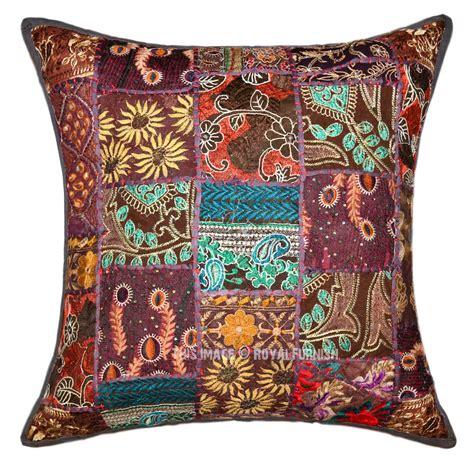 bohemian throw pillows 24x24 quot grey multi bohemian patchwork decorative cotton