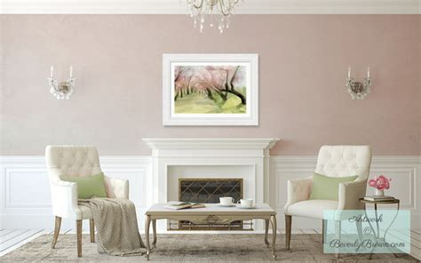 blush pink living room with spring cherry blossoms art shabby chic style living room new