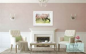 blush pink living room with spring cherry blossoms art With kitchen cabinets lowes with blush pink wall art