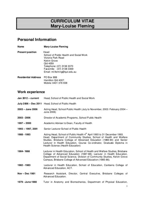 mary louise fleming phd cv