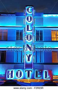 Neon sign at night outside the art deco Colony Hotel
