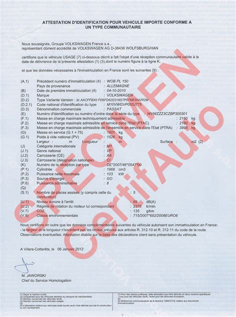 certificat de conformite europeen volkswagen