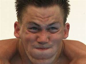The constipated-looking face of an Olympic high diver ...